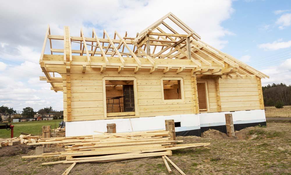 medinio namo statyba